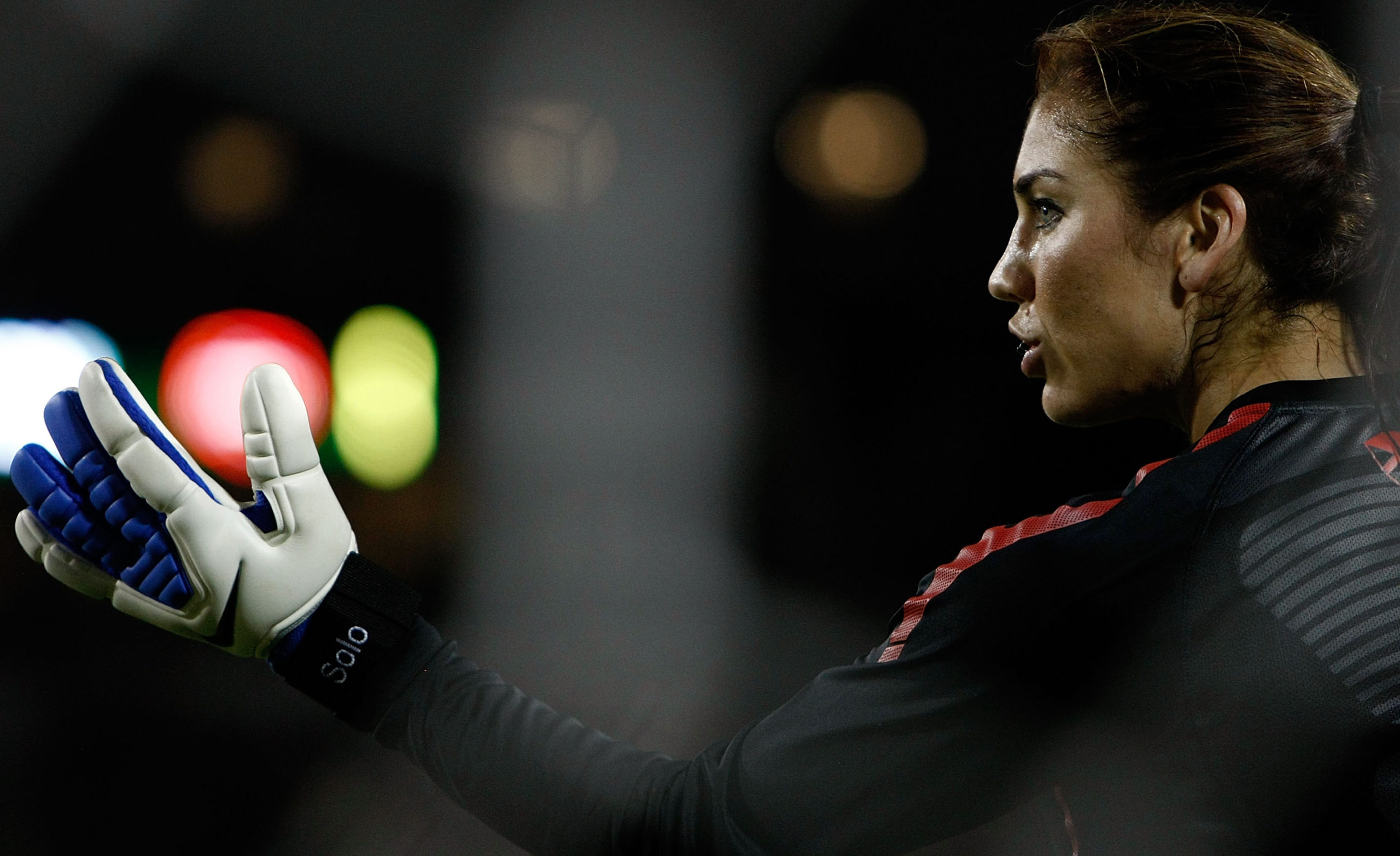 PORTLAND, OR - SEPTEMBER 22:  Goal Keeper Hope Solo #1 of the United States warms up against Canada during the final match of the Celebration Series on September 22, 2011 at Jeld-Wen Field in Portland, Oregon.  (Photo by Jonathan Ferrey/Getty Images)